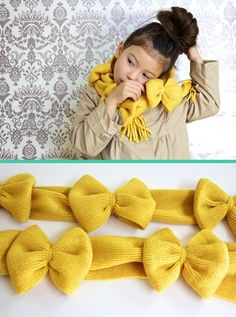 Make Holiday Gift Guide: All-Sewn Gift Ideas - the scarf and the giant softie letters rock! Bow Scarf, Girls Bows, Sewing Gifts, Crocheted Scarf, Gift Ideas, Diy Tutorial, Sewing Diy, Holiday Gifts, Make Bows