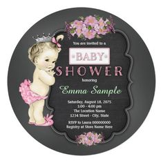 Adorable pink flowers and sweet princess baby girl vintage chalkboard baby shower invitations. This beautiful vintage chalkboard baby shower invitation is easily customized for your event by adding your details in the font style and color, and wording of your choice.