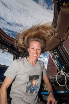 Astronaut in the Module Cupola at the ISS