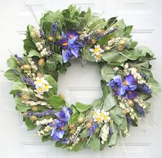 Spring Wreath Warm & Windy dried wreath with silk flowers