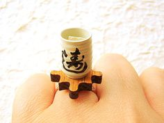 Kawaii Green Tea Ring Miniature Food Jewelry by SouZouCreations, $12.50