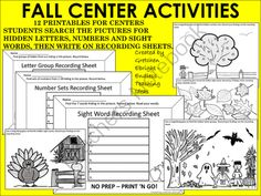 Fall Center Activities - Hidden Pictures from Endless Teaching Ideas by Gretchen Ebright on TeachersNotebook.com -  (28 pages)  - Print 'n Go. 12 Center Activities. Students search Fall themed pictures looking for letter groups, number sets or sight words. Johnny Appleseed /apples, Leaves, Halloween, Thanksgiving.  Pre-K, K, 1st