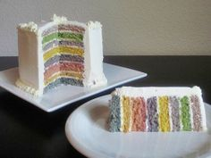 Organic Vegetarian Rainbow Cake with All-natural Homemade Food Coloring - can be vegan adapted.