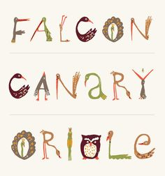 BIRD TYPE    Birds + Type... where could you go wrong? This bird alphabet was used for a Fall Appreciation poster.   art direction: Carolyn Keer
