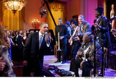 "Feb. 21, 2012: President Obama joins in singing ""Sweet Home Chicago"" during a concert at the White House. Participants include, from left: Troy ""Trombone Shorty"" Andrews, Jeff Beck, Derek Trucks, B.B. King, and Gary Clark, Jr."