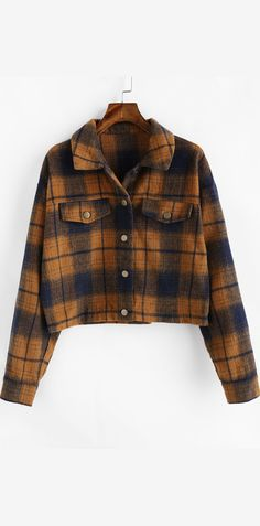 Occasions: Daily Clothes Type: Jackets Style: Casual Material: Polyester Type: Wide-waisted Length: Regular Sleeves Length: Full Sleeve Type: Drop Shoulder Collar: Turn-down Collar Closure Type: Single Breasted Pattern Type: Plaid Seasons: Autumn,Winter