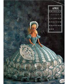 Miss April 1991 Annies Calendar Bed Doll Society  Fashion Doll  Crochet Pattern  Annies Attic 7404.