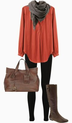 Simple cute outfits for fall with scarf...gearing up cool weather just around the corner! boot, fall fashions, fall clothes, color, burnt orange, casual fall, fall looks, fall outfits, shirt