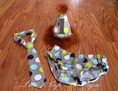 Birthday Cake smash set First birthday boy Brown Polka dot Birthday hat tie diaper cover 1st Birthday. $40.00, via Etsy.
