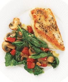 Chicken With Spinach and Mushrooms   Get the recipe: http://www.realsimple.com/food-recipes/browse-all-recipes/chicken-spinach-mushrooms-recipe-00000000020576/index.html