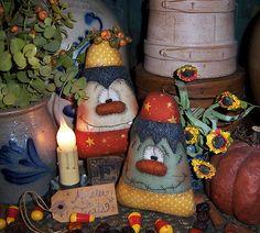 Primitive Halloween Frankenstein Vampire Candy Corn Fall Ornie Doll Pattern