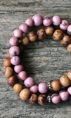 Pink Brown Bohemian Stacking Bracelet in Bali Sterling
