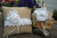 Burlap Ring Bearer Pillow and Flower Girl by MyMontanaHomestead, $38.00