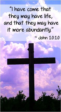 """""""I have come that they may have life, and that they may have it more abundantly."""" ~ John 10:10"""