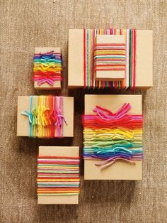 craft paper and rainbow yarn!