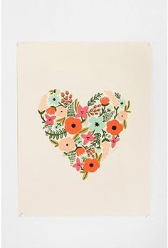 """Urban Outfitters Rifle Paper Co. Floral Heart Print 18x24"""" $34.00"""