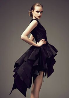 Structured Origami Ruffles Little Black #Dress | Grace Collection#AshistudioFall Winter2014 2015. #LBD #Couture #Fashion