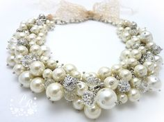 Wedding Necklace handbeaded Glass Pearl with by PureRainDesigns, $58.00
