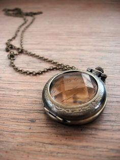 Jeweled Pocket Watch Necklace - $29
