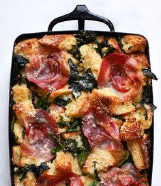 Parmesan Bread Pudding with Broccoli Rabe and Pancetta Recipe - Bon Appétit