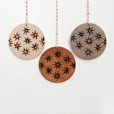 Wood Burned Ornaments : Set of three star pattern wooden ornaments. $22.00, via Etsy. holiday, idea, craft, pyrographi, ornaments, christma, woodburn, wood burn, burn ornament