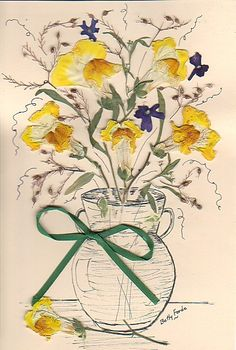 pressed yellow snapdragons with pen sketch vase.