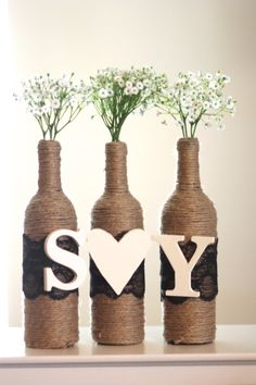 Rustic Centerpiece Wrapped Wine Bottles with by AestheticJourneys, $30.00