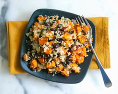 "Sweet Potato Black Bean Pilaf with sage ""butter"" The perfect Halloween dinner."