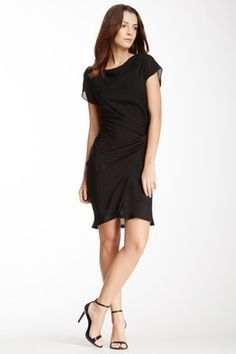 Side Ruched Cap Sleeve Dress