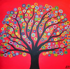 Really cool circle tree abstract painting. large class version