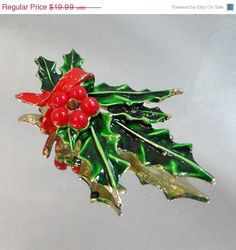 SALE Vintage Christmas Brooch Green and Red Holly Branch by waalaa, $16.99