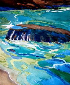 Pacific Swirls, On the Water, California Art Club exhibit robin purcell , watercolors in the plein air tradition