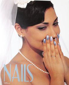 Blue Nails Manicure Wedding Veil NAILS Salon Poster Print - $1