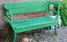 Two old chairs facing each other with new wood bench and back. HAVE TO DO THIS!!