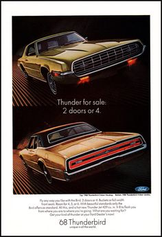 1968 Ford Thunderbird -  Vintage Print Advertisement - 2-door Hardtop  4-door Landau