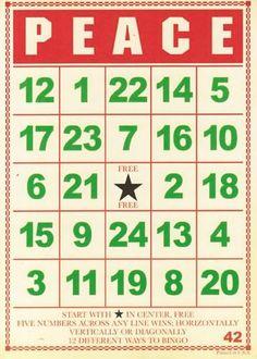PEACE Bingo Card