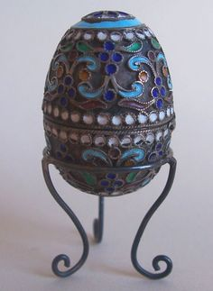 Antique Russian Enameled Silver Egg Thimble Holder; Circa 1900