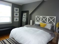 Thinking of grey, white and yellow master bedroom