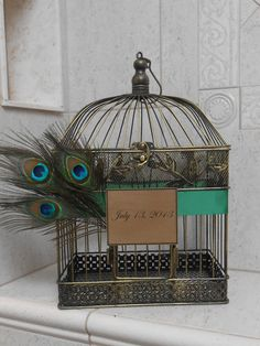 Peacock Wedding Birdcage Cardholder / Card Box by YesMoreFunk, $60.00