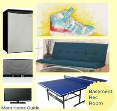 Must haves for a dream recreation /game room in a finished or unfinished basement. Just give me a ping pong table, mini fridge and flatscreen TV, and we are set!