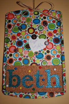 Cookie Sheet Magnet Board; glue fabric and cork board