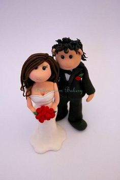 Fondant Bride & Groom Wedding Cake Topper