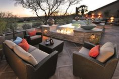 Lovely fire pit & hot tub combination