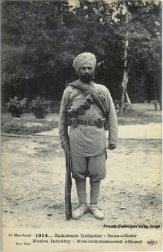 WW1: French postcard of a Sikh Havaldar (NCO) Native Indian Infantry, who poses for the photographer in Marseilles before deploying as member of the British troops on the Western Front. Both the UK and France used their colonial troops extensively during the war.