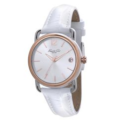 Stainless Steel Round Watch with Croco-Leather Strap - Kenneth Cole