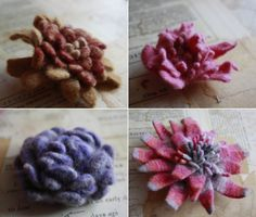 flowers made from felted wool sweaters