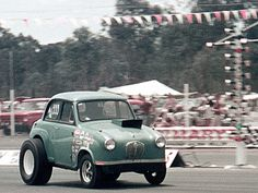 Once was an Austin A30.  Action at the Castlereagh Drag races.