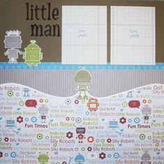 Little Man PreMade 12x12 Robot Children's by silverscraps on Etsy, $12.75