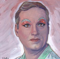 The great Zaza Napoli from La Cage aux Folles Done on 6x6 inch Aquabord with Winsor & Newton Gouache Paints