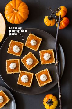 teensy pumpkin pies - I am going to use my Pampered Chef Brownie Pan for this one!